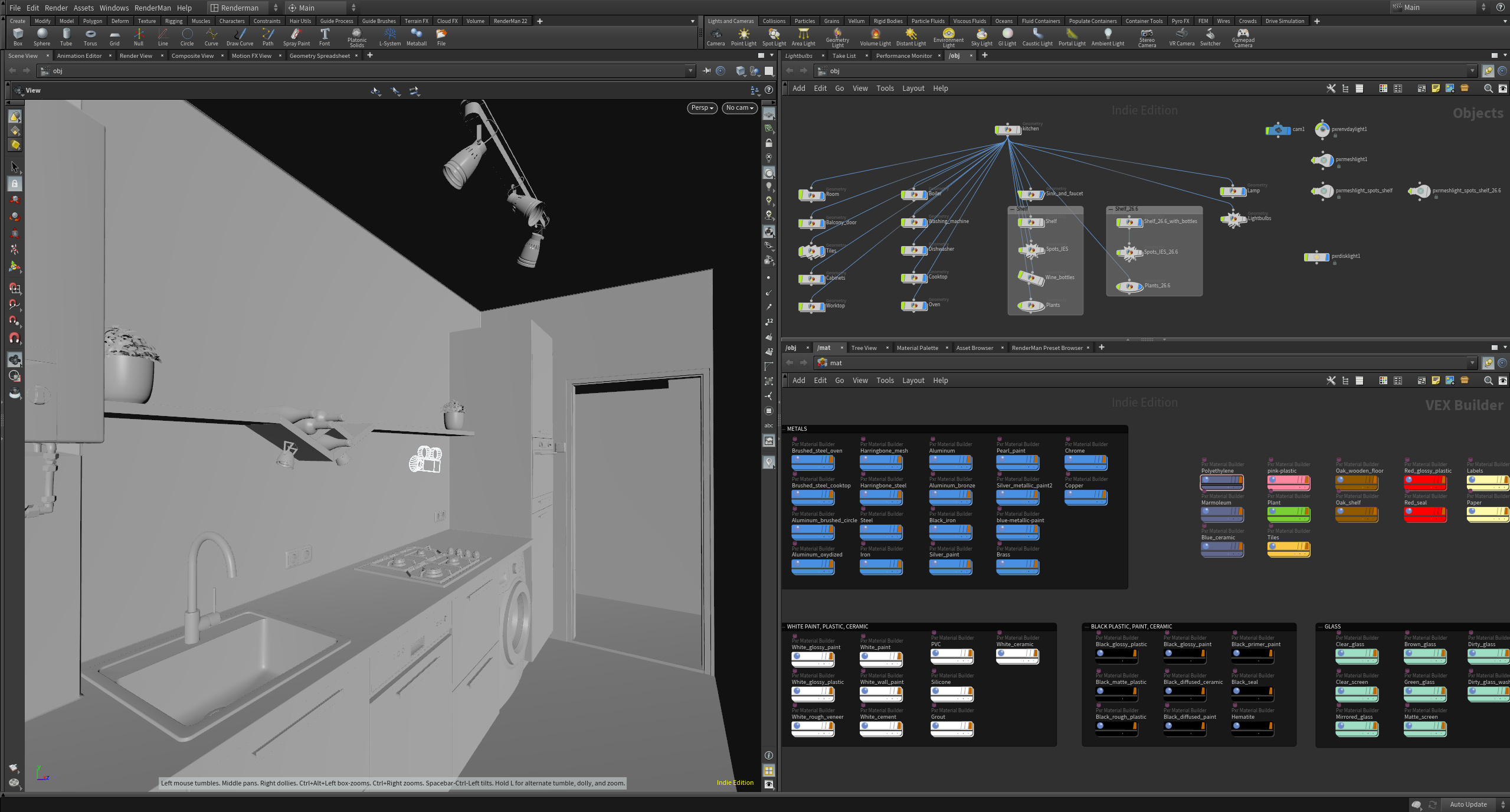 Scene and basic material setup in Houdini with Renderman